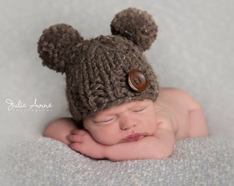 Double Pompom Baby Hat - Chunky Knit Photo Prop - Newborn, Baby, Child