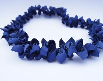 Leather, Blue Necklace, Leather Necklace, Necklace, Blue Flower Necklace, Choker