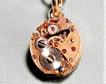 Steampunk Vintage Wyler Watch Movement Pendant with Chain OOAK #47