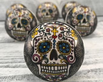 Round Ceramic Knobs, Day of the Dead, Hand Painted Ceramic Knob, Furniture Upgrade Cabinet Knobs Skull Painting On Pull, Item #562100715
