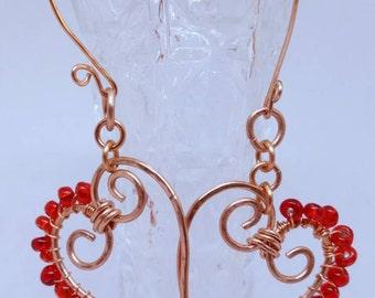 Heart Earrings, Copper Heart Earrings, Copper Jewelry, Valentines, Beaded Heart Jewelry