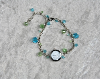 Watch turquoise and green beads