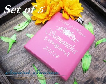 5, Personalized Bridesmaid Gifts, Pink Flask, Wedding Gift for Bridesmaids, 6oz Hip Flask