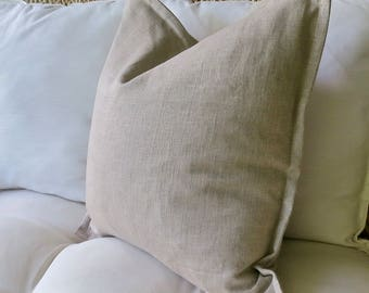 Natural Linen Pillow Cover, Flange Edge Pillow, 18 x 18 inch, 20 x 20 inch, 22 x 22 inch, 24 x 24 inch, Pillow Sham, Euro Sham, Solid