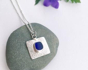 Sea glass Jewellery, Sea glass necklace, Blue, Sterling silver necklace, Beach Jewellery, Boho necklace, Mermaid necklace, Ocean jewellery