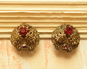 1940's Floral Filigree Earrings with Red and Purple Rhinestones