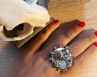 Ring ring steampunk, gears, watch, Gothic