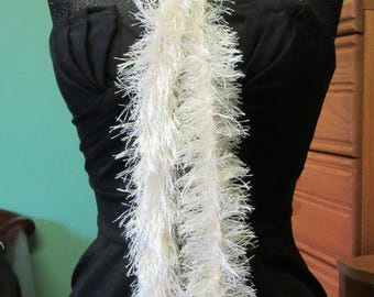 Cream White Boa, Scarf, Beach, Crochet, Fluffy, 80 Inch, Extra Long, Faux Fur, Girls Night Out, Bachelorette, Unusual, Gift, Easter, Spring