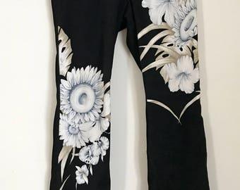 Vintage Floral Velvet Bell Bottom Pants