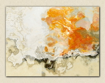 """Large abstract expressionism stretched canvas print, 24x32 to 40x54 in orange and beige, from abstract painting """"Rhymes With Orange"""""""