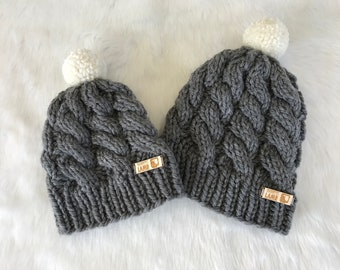 Hand-Knit Chunky Cabled Baby/Toddler Hat