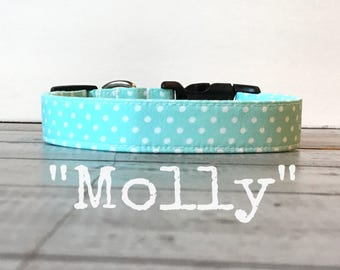 DOG COLLAR, Dog Collars, The Molly, Dog Collars for Girls, Polka Dot Dog Collar, Aqua, Cute Dog Collars