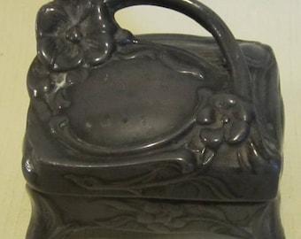 Gorgeous art nouveau pewter jewelry box, trinket box, dressing table accessory, ca 1900