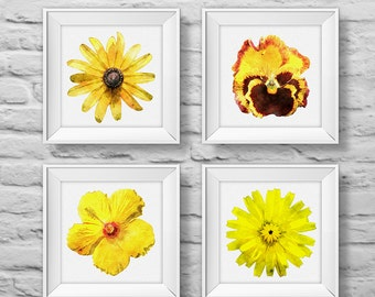 Floral Bouquet #3 YELLOW (set of four) unframed square art prints, nature, floral, watercolor, photography, wall decor. (R&RBOUQUET3)