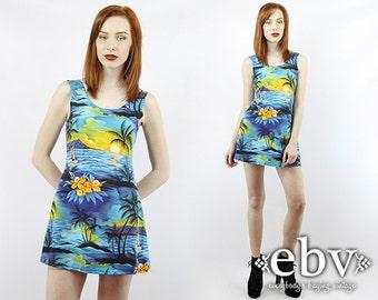 Vintage 90s HAWAIIAN SUNSET Bandage Mini Dress XS S Bodycon Dress Bandage Dress Tight Dress 90s Dress Stretch Dress Summer Dress