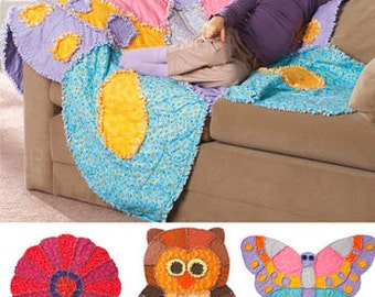 Sewing Pattern for Child's Rag Quilted  Quilts , Simplicity 2935, Cotton Flannel, Three  Quilts, Butterfly, Owl & Flower