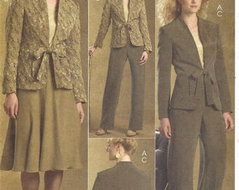 Palmer Pletsch Womens 3 Piece Retro Suit Lined Jacket, Skirt & Pants OOP McCalls Sewing Pattern M5481 Size 8 10 12 14 Bust 31 1/2 to 36 FF