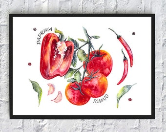 Kitchen wall art vegetables printable paprika tomato watercolor print kitchen decor art print home poster red