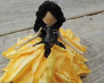 Mirasol Designer Bendy Doll Ornament ~ Yellow Sun Flower Fairy ~ Dainty OOAK Waldorf Large Black Gold