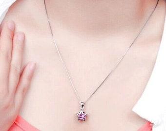 Purple Twinkling Star Gemstone Necklace