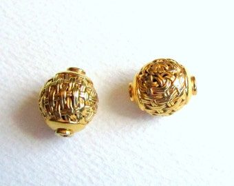 Two Large Bali 23K Gold Beads