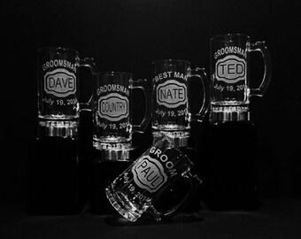 11 Groomsmen Gifts - Groomsman Gift Set of 11 Personalized Wedding Gifts - Etched Mugs - Best Man Gift, Wedding Beer Mug