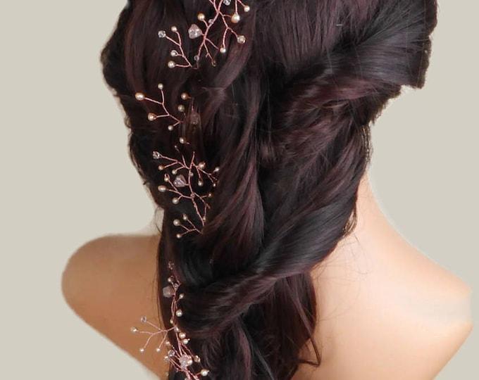 Rose gold and blush Pink hair vine, peach, Swarovski hair vine, garland, pearl, Crystal, braid wrap, wedding hair accessories, bride hair