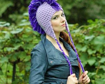 Light Purple Earflap Hat  w/ Dark Purple Mohawk