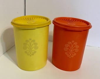 Vintage Tupperware Canisters Orange & Yellow