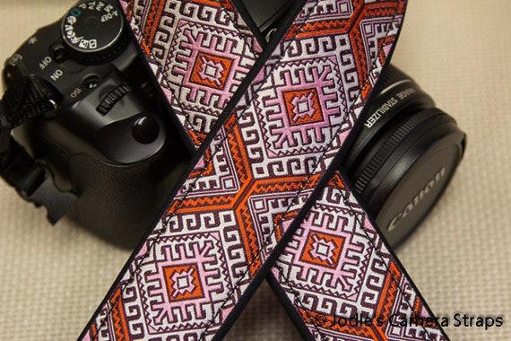 """Camera Strap Aztec Orange Pink 1.5"""" Wide Custom Padded Fits DSLR SLR 5562"""