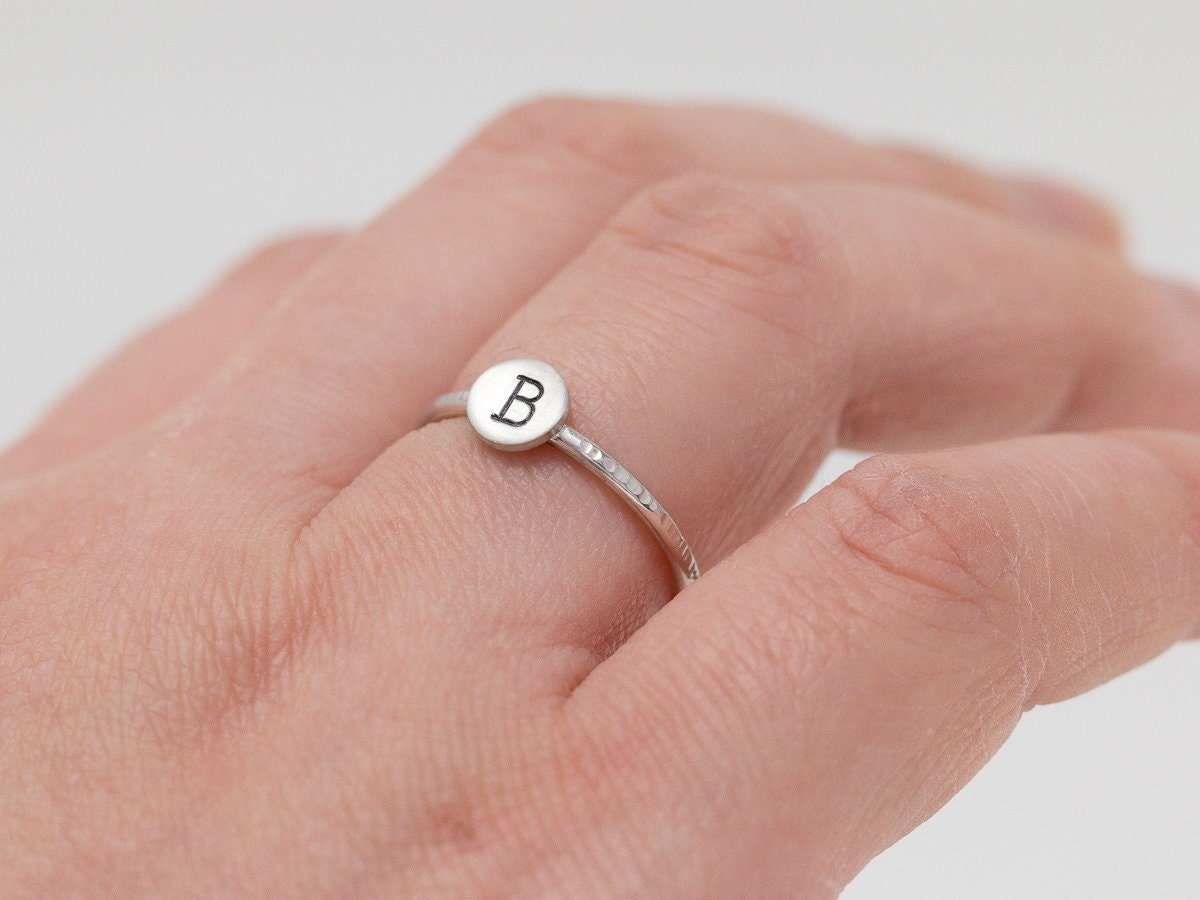 Sterling Silver Initial Ring|Personalised Ring|Sterling Silver Ring ...