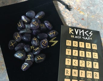 Amethyst Tumblestone Rune Stone Set, complete with pouch & Runic Symbol Sheet, Divination, Runes, Purple