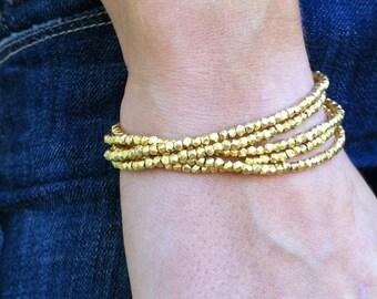 Multistrand Gold Nugget Bracelet