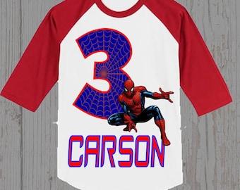 Spiderman Birthday Shirt - Spiderman Shirt - Ringer  Shirt