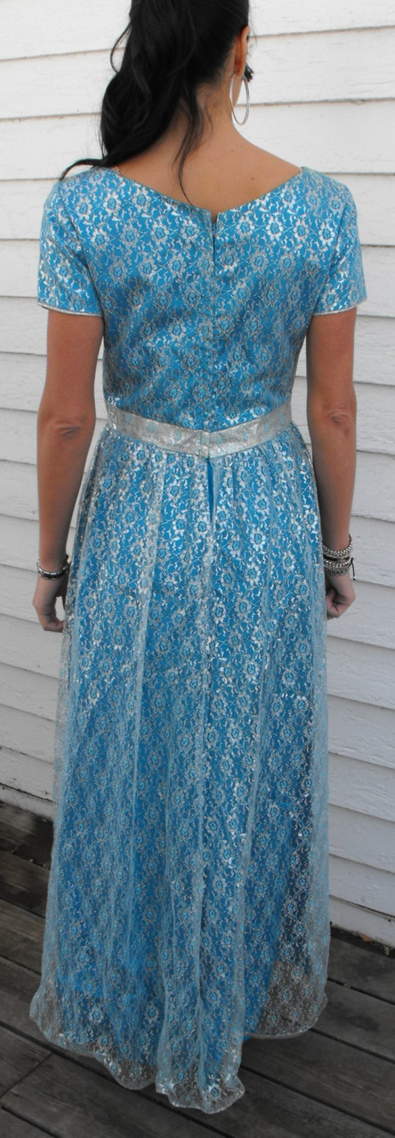 Emma Domb Blue Silver Lace Gown Vintage 60s Party Dress 1960s