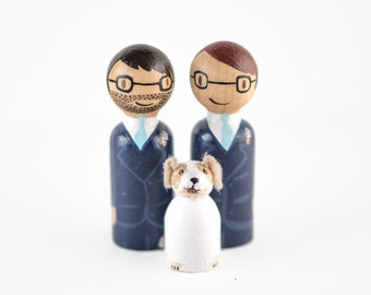 Mr and Mr Cake Topper - Gay Cake Topper - couple with dog topper - gay topper with dog - same sex cake topper - gay wedding cake topper
