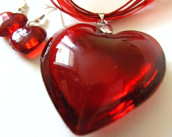 SALE, Huge, RED, love heart, pendant, necklace ONLY, glass, Valentine, festive, by NewellsJewels on etsy