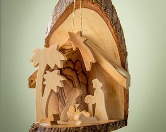 E10B/Olive wood ornament/ hand carved Christmas tree ornament/Bethlehem/Holy Land