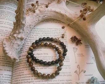 Obsidian and Tigers eye stacking bracelet set
