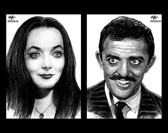 """Prints 5x7"""" - Morticia and Gomez Addams - The Addams Family Wednesday Classic Dark Art Comedy TV Horror Gothic Mustache Lurch Halloween"""