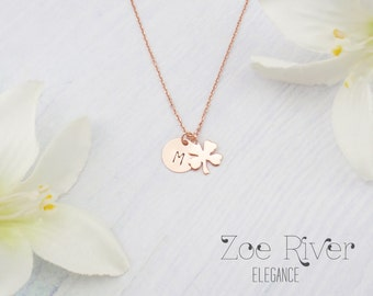 Personalized rose gold clover necklace.  Dainty rose gold clover initial necklace