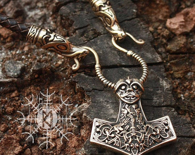 Bronze Mjolnir Viking Thor's Hammer Nordic 3D Pendant Wolf Heads Braided Leather Cord Necklace BM7