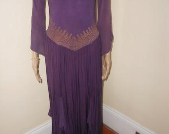 Vintage Purple Cotton Maxidress/Purple/Bronze Gypsy Dress/Long-Sleeved, Full Skirt Boho Maxidress - Size S