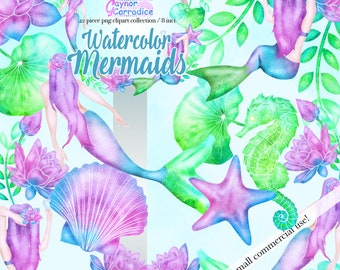 Mermaid clipart, watercolor mermaid clip art, mermaid printable, mermaid birthday, mermaid party, starfish clipart, mermaid nursery decor