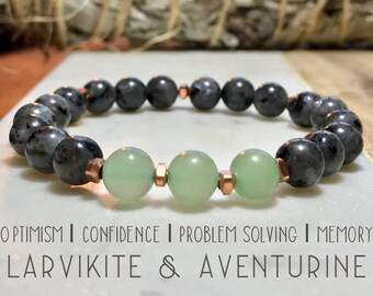 Aventurine and Larvikite bracelet. Gemstones. High-quality.