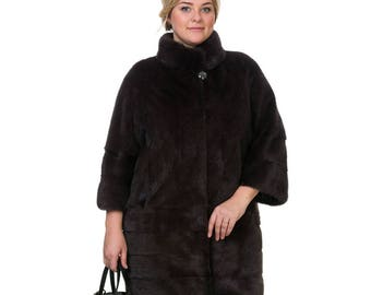 Plus Size Fur coat, Dark Brown fur coat, Real mink fur coat, Winter mink coat,Real fur jacket,Dark Brown mink fur,Fashion coat F841