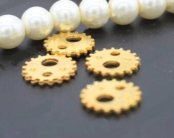 25pcs Golden Plated Wheel Gear Charms,Gear Rack Toothed Wheel Findings,Pendants,Connectors,Clockwork Cog Wheel Gearwheel,Gear Clock Parts
