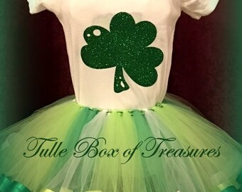 St Patrick's Satin trimmed tutu and onesie, created by Maggie