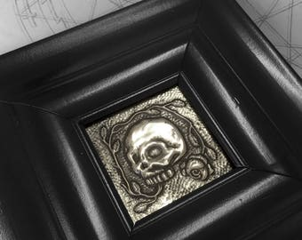 Skull & Roses : hand embossed anatomical repoussé metal wall art
