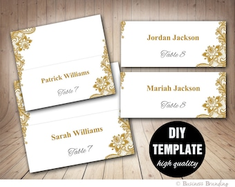 Gold Lace Wedding Place cards Template Foldover, DIY Gold Place card, Instant Download,Gold and silver Printable Wedding Seating Placecards